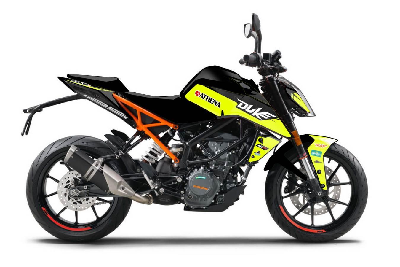 KTM Duke 125 200 390 2020 Aufkleber Satz neon gelb Powerparts Factory Look Dekor Motorradaufkleber