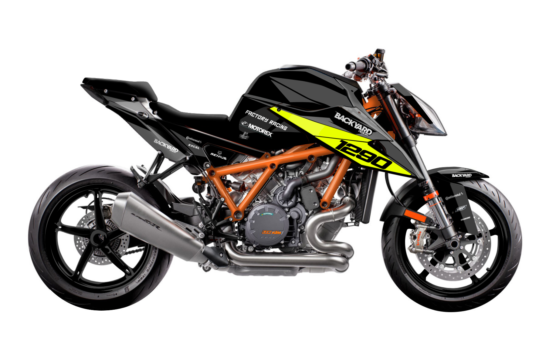 Prime Neon - Eines von vielen KTM 1290 Super Duke R Supermoto Dekor Grunddesigns von Backyard Design